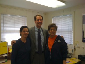 Congressman Jim Himes with JayStar Group Employees: Lauren Mendence, Senior Account Manager and Rose Jimenez, Vice-President.